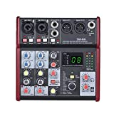 FENXIXI SM-66 Portable 4-Channel Sound Card Mixing Console Mixer Built-in 16 Effects with USB Audio Interface Supports 5V Power Bank
