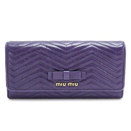 (ミュウミュウ)MIUMIU長財布5M11092E4YF0030/VITELLOSHINECHEVRVIOLA二つ折りフラップヴィッテロリボンキルティングレザービオラ[並行輸入品]