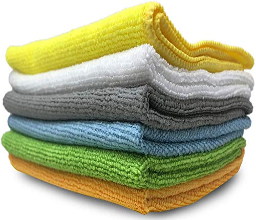 6 Pack Microfiber Cleaning Cloth Towels for Cars - 15 x 12 inch Supplies Micro Fiber Glass Cleaning Rags Dish Wipe Polishing Dusting Cloths Kitchen Towel, Clean Windows & Cars Lint-Free Reusable