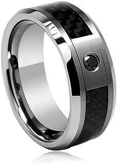 Mysticdrop 0.06-0.08 Cts Black Diamond 8 mm Ridged Tungsten Wedding Band with Carbon Fiber Center-12.0
