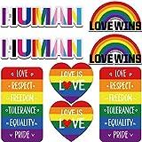 8 Piezas Pegatinas Magnéticas de Arcoíris Calcomanías de Imán de Coche de Corazón Arcoíris Pegatina Magnética de Love is Love Love Wins Pegatinas de Letras de Human para Decoración