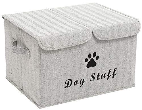 Brabtod Caja grande de almacenamiento de juguetes para perros con tapa, ideal para organizar juguetes de perro y gatos y cosas de perro, color gris