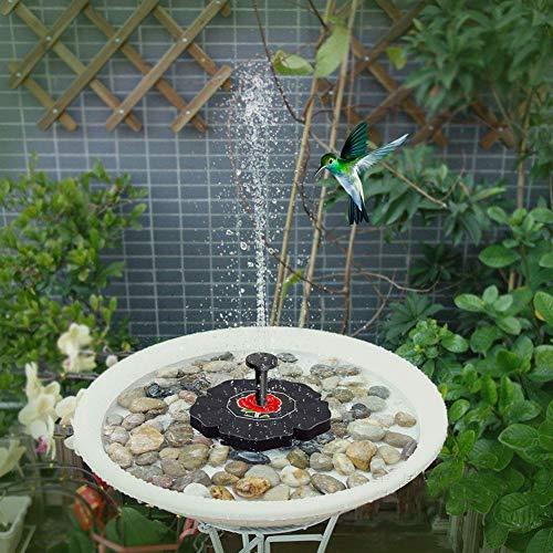 YanQxIzbiu Solarbrunnen, mit Rose, solarbetrieben, für den Außenbereich, Wasserpumpe, Vogelbad, Gartendekoration multi