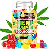 Hemp Gummies 900,000mg - 100% Natural Hemp Oil Infused Gummies for Anxiety, Stress Relief, Promotes Sleep, 90 Sweets
