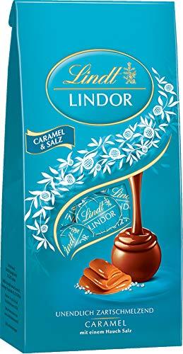 Lindt LINDOR Beutel, Caramel & Salz, Vollmilch Schokolade mit Caramel und einem Hauch Salz, 1er Pack (1 x 137 g)