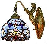Aplique Pared La decoración de las luces de pared accesorio de la lámpara de luz Buena Transmisión sentimiento romántico cubierta dormitorio retro Glass Design ( Color : Stained , Size : 28x26cm )