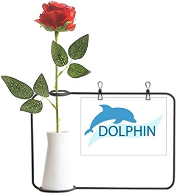 YaoX Blue Ocean Docile Dolphin Illustrate Artificial Rose Flower Hanging Vases Decoration Bottle