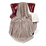 GONAAP Mink Faux Fur Throw Blanket Sherpa Backing Luxury Super Cozy Warm Decorative Honeycomb Design Reversible for Coach Bed Sofa Chocolate 50' 60'