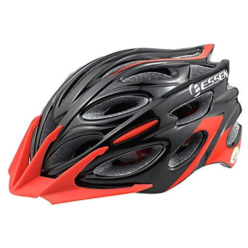 XYL Bicicleta Casco Certificación CE Diseño de quilla en 3D de una Pieza Ligero Adecuado para Bicicleta de Campo BTT Carretera Casco Forro Desmontable Hombres y Mujeres,Blackred,L