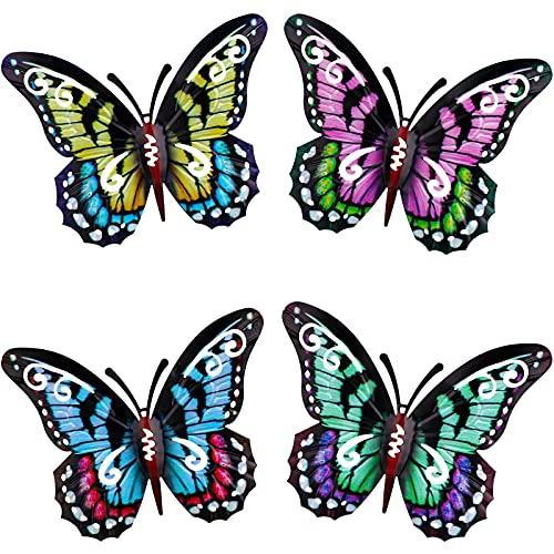 4 Piezas Decoraciones Colgantes de Pared de Mariposa de Metal 3D, Mural de Mariposas Ahuecadas de Hierro Forjado, Decoración de Pared para Interiores y Exteriores