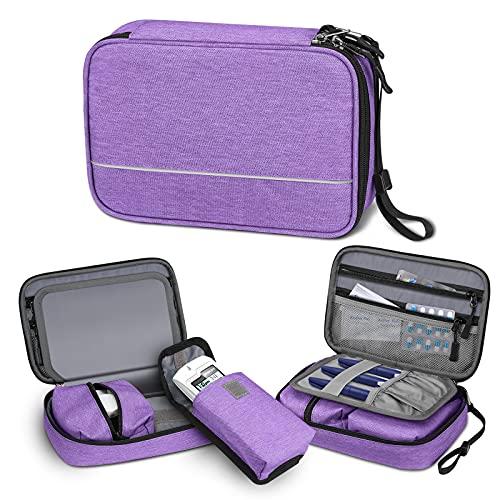 SITHON Diabetikertasche mit Handschlaufe Wasserabweisend tragbare Aufbewahrungstasche für Insulin-Pens, Glukose-Messgerät, Blutzucker-Teststreifen und andere Diabetiker Zubehör (nur Tasche), (Lila)