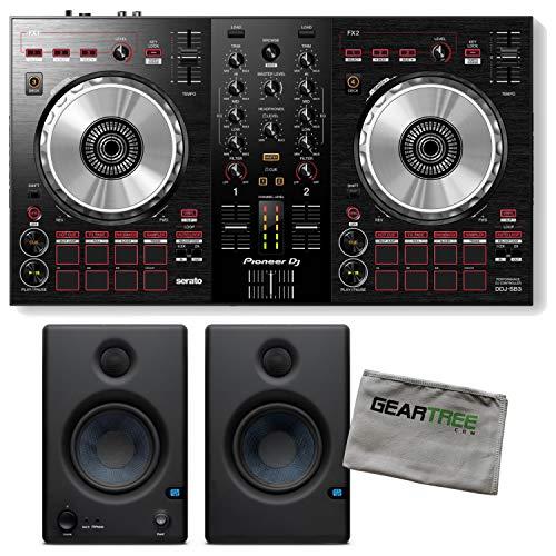 Pioneer DJ DDJ-SB3 2-Channel DJ Serato DJ Lite Controller w/Studio Monitors and