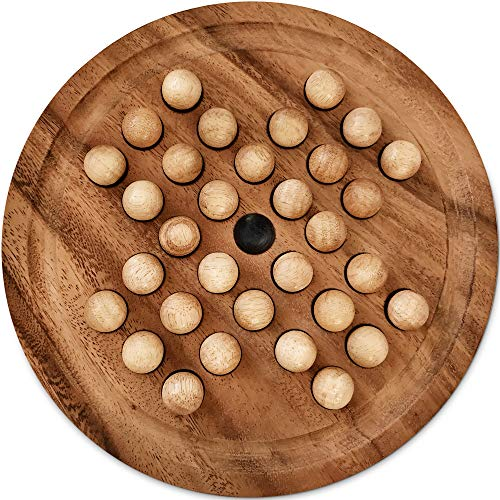 KHAPLO  – Solitario de Lujo – Rompecabezas de madera de Acacia – Gran Bandeja de 26 cm – Bandeja y bolas de madera – Juego de mesa – Juegos de Madera - Solitario Canicas de Madera