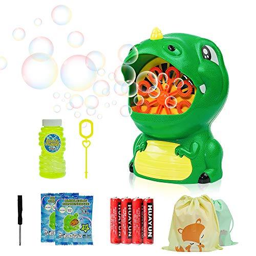 Morkka Bubble Machine Ventilatore Automatico a Bolle duraturo per Bambini Forma di Dinosaur Facile da Usare 500 Bolle al Minuto per Natale Feste Matrimoni All'aperto o al Coperto Uso 4 AA batterie