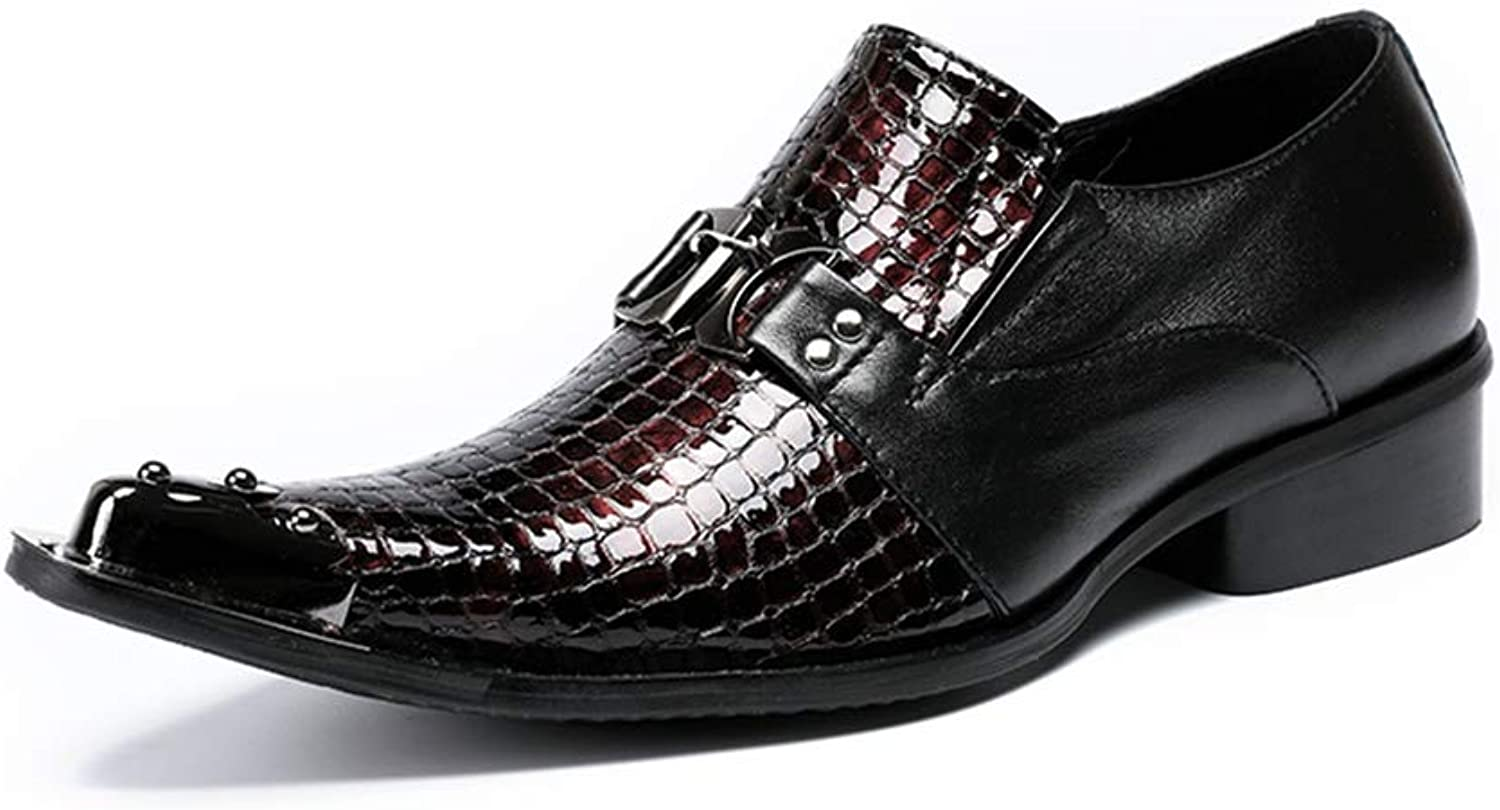 Mens Loafers Slip-On Oxfords shoes Leather Red Pointed Metal Toe for Smart Wedding Evening Party