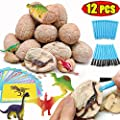 "AMENON 12 PCS Dinosaur Toys Easter Eggs, 3.2"" Jumbo Dino Egg Dig Kit Discover 12 Unique Dinosaur Figure Toys Science Kits for Kids Boys Girls Easter Gifts Easter Basket Stuffers Dinosaur Party Favors"