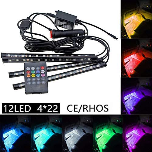 Taben Car LED strip light 4 pcs 48 LED DC 12 V Multicolore Musique de voiture Intérieur lumière LED sous Dash kit d'éclairage avec fonction son Actif, télécommande sans fil et chargeur de voiture