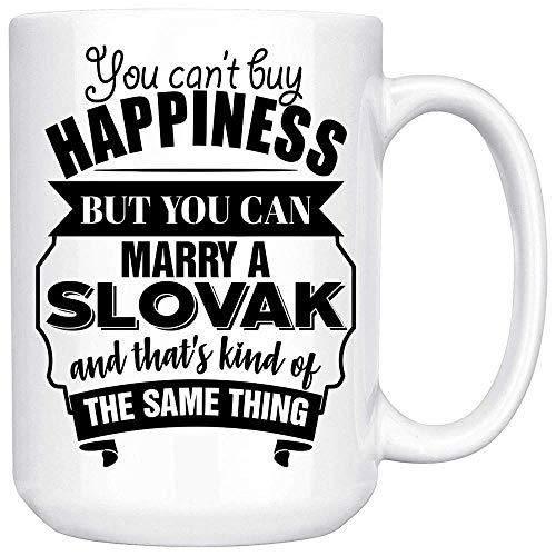 El mejor regalo divertido de San Valentín para esposo esposa es una taza de café blanca eslovaca que no puedes comprar la felicidad, pero puedes casarte con un eslovaco y eso es un tipo de lo mismo.
