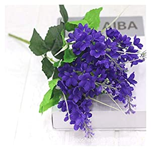 NKLnce Lavender Plastic Artificial Flowers Romantic Provence Purple Bouquet with Green Leaves Wedding Home Table Decoration Fake Flower Artificial Decorations
