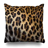 STTYE Pillow Case Cotton Polyester Blend Throw Pillow Covers Close up of a Beautiful Leopard Skin Background Bed Home Decor Cushion Cover 18 x 18 Inch