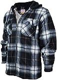 Men's Heavyweight Flannel Zip Up Fleece Lined Plaid Sherpa Hoodie Jacket (A17 - Navy White Grey, L)