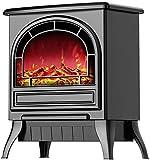 Calentador De Chimenea Eléctrico 1800W con Efecto De Llama De Fuego Efecto De Estufa De Leña Eléctrica Portátil Negro