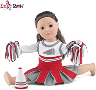 Emily Rose 18 Inch Doll Clothes | Amazing Scarlet and Grey Team Cheerleader Outfit, Includes Cheerleader Dress, Long Sleeved T-Shirt, Fluffy Pom Poms and Megaphone | Fits American Girl Dolls