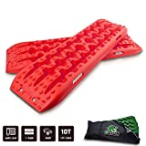 STEGODON New Recovery Traction Tracks with Bag(Set of 2), Recovery Traction Mats Sand Snow Mud Track Off Road Tire Ladder 4WD(Red)