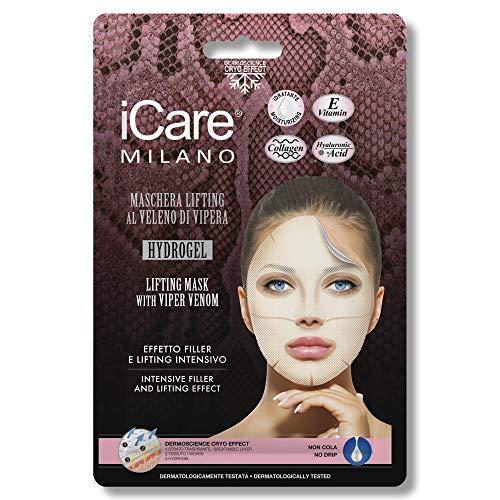 iCare Maschera Viso effetto Filler e Lifting Intensivo al Veleno di Vipera - Tessuto, Hydrogel, con Acido Ialuronico, Collagene e Vitamina E, Decongestionante, Antiossidante, Idratante, Elasticizzante