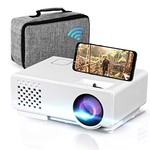 apple android projectors Oecrayy Mini WiFi Projector, Upgraded Portable Movie Projector Full HD 1080P Supported, Home Theater Projector Wireless Mirroring Synchronize Screen Video Projector for iOS/Android/TV Stick/PC