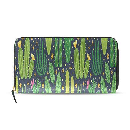 Enhusk Kaktusfeige Grünpflanzen Lange Passport Clutch Geldbörsen Reißverschluss Brieftasche Fall Handtasche Geld Organizer Tasche Kreditkarteninhaber Für Dame Frauen Mädchen Männer Reise Geschenk