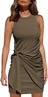 LILLUSORY Women's Casual Sleeveless Summer Tank Crewneck Bodycon Ruched Tie Wais