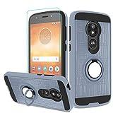 Atump Moto E5 Play Case, Moto E5 Cruise Case with HD Screen Protector, 360 Degree Rotating Ring Holder Kickstand Bracket Cover Phone Case for Motorola Moto E5 Play Metal Slate