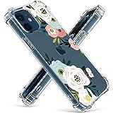 Niboow Coque Compatible avec iPhone 12 Mini, [avec 2 pièces Verre Trempé] Silicone Gel Fleur Etui...