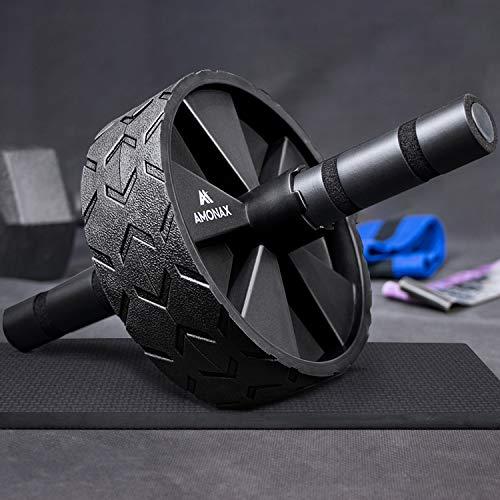 Amonax - Rullo per addominali convertibile con grande tappetino per ginocchio per esercizi di rollout Core Abs, doppia ruota con doppia modalità di allenamento di forza fitness in palestra o a casa