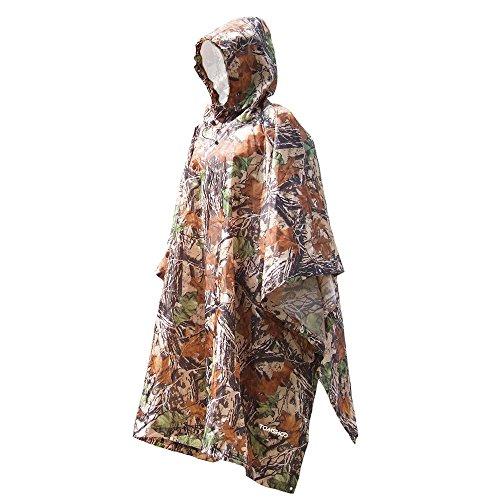 TOMSHOO Poncho de Lluvia Impermeable y Multifuncional como Toldo Manta, Estera de Camping para Senderismo,Cámping, Ciclismo Unisex