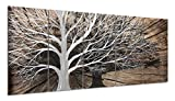 Yihui Arts 3D Silver Tree Metal Wall Art Hand Grind on Aluminum Brown Rustic Pictures in 5 Panel Modern Artwork for Living Room Bedroom Decoration (24Wx64L)