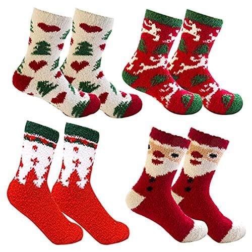 wopin 4 Pares Calcetines para Navideños Calcetines de Felpa Coloridos,Invierno Calcetines de Mujer Bowknot Regalo Navidad Calcetines para mujer niña novia Regalo de cumpleaños de San Valentín