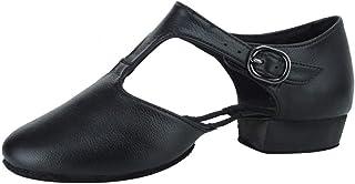 Zapatos de Danza Moderna Jazz para Mujer,Cómodo Ponerse Cuero Fino Zapatillas de Danza de Jazz de Práctica,Modello JS359