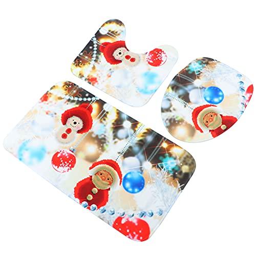 WINOMO 3Pcs di Natale Toilet Seat Cover Decorazioni di Natale Babbo Pupazzo di Neve Copertura Sedile del Water WC Tappeto di Natale Serbatoio del WC Copre Bagno Decor