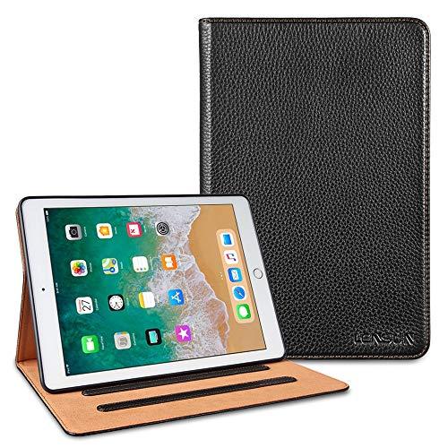 LENSUN Echtleder Hülle für iPad 9.7 2018/2017, Lederhülle Sdandfunktion Auto Schlafen/Wachen Schutzhülle für iPad 5. und 6. Generation Tablet(9,7 Zoll) – Schwarz(IPD5-BK)
