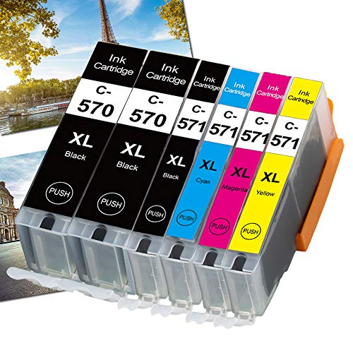 OGOUGUAN 570 XL CLI 571 XL Cartouche d'encre Compatible pour 570 571 Compatible pour PIXMA TS5050 TS6050 MG5750 TS5055 MG6850 TS6051 TS6052 MG5753 MG6851 MG5752 TS5051 TS5053 MG5751(6pcs)