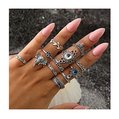 IYOU - Set di anelli vintage con pietre preziose, in argento e cristallo, per donne e ragazze (12 pezzi)
