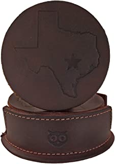 Hide & Drink, Durable Thick Leather Texas State/Lone Star Coasters without Stitching (6-Pack) Handmade Includes 101 Year Warranty :: Bourbon Brown