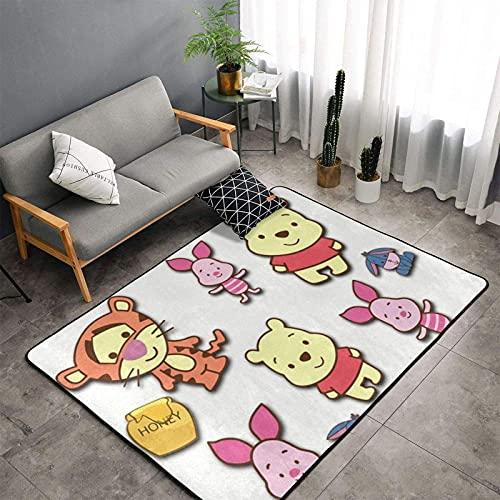 huancheng Alfombra de oso de Pooh de dibujos animados, para dormitorio, camping, suave, para niños, niñas, para habitación o habitación, 156 x 95 cm