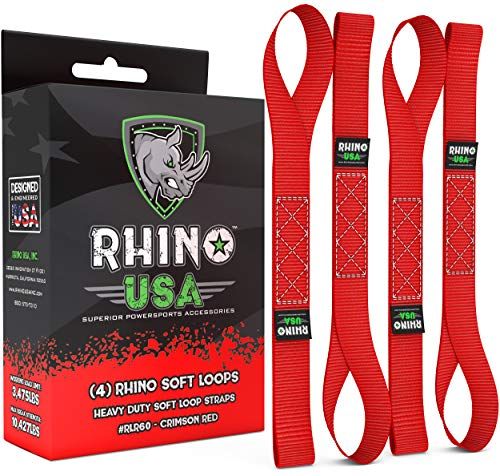 Rhino USA Soft Loop Motorcycle Tie-Down Straps (4PK) - 10,427lb Max Break Strength 1.7 x 17 Heavy-Duty Tie Downs for use w/Ratchet Strap - Secure Trailering of Motorcycles, Kayak, ATV, UTV (RED)