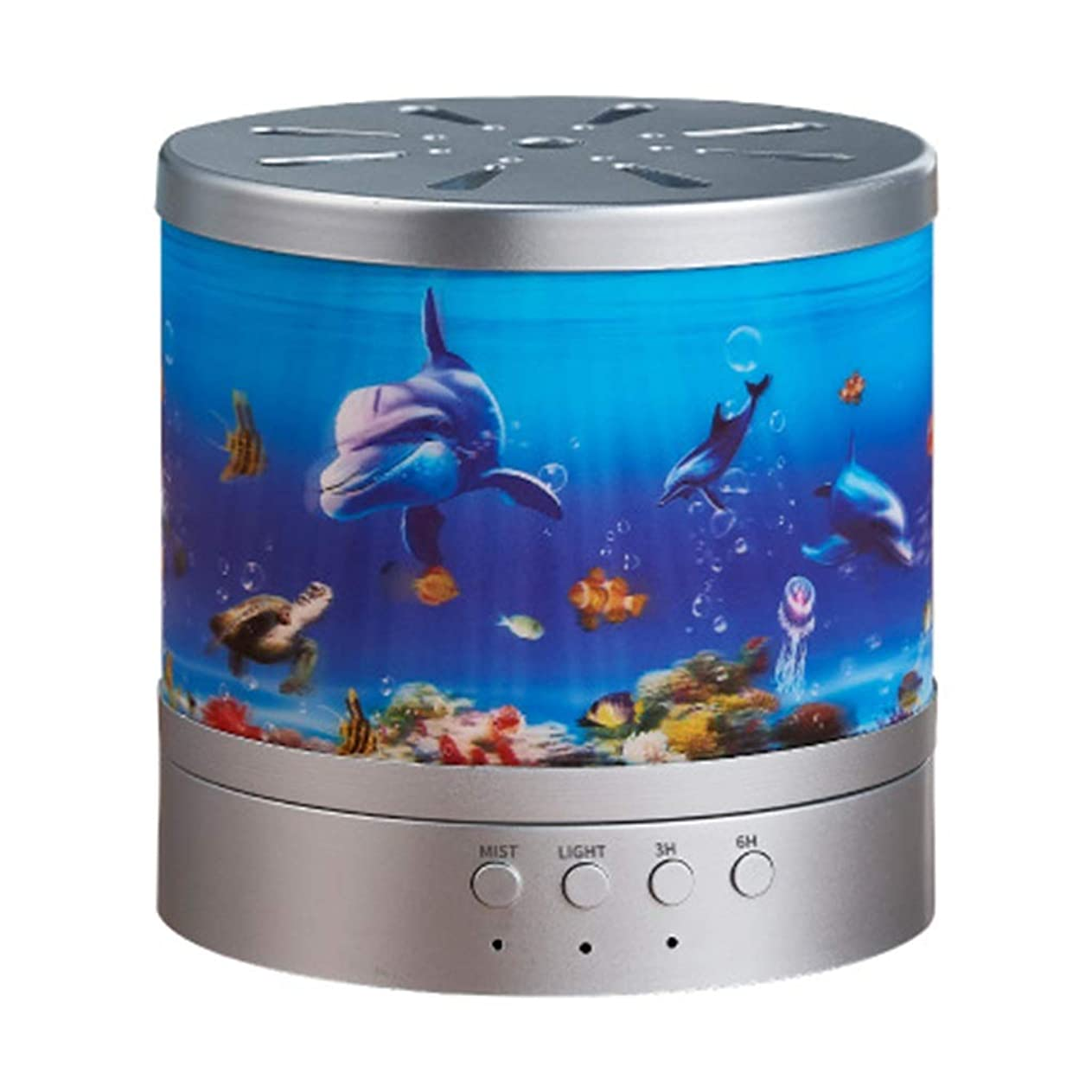 怒る気づく舌精油のための海洋の主題の拡散器超音波涼しい霧の加湿器、水なしの自動シャットオフおよび7つの色LEDライトは内務省のために変わります (Color : Silver)
