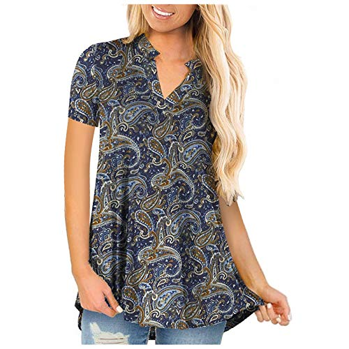 Qigxihkh Damen Casual Fashion Abstract Print Halber Stehkragen Kurzärmelige Oberteile