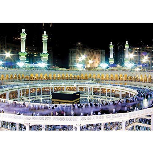 Vlies Fototapete PREMIUM PLUS Wand Foto Tapete Wand Bild Vliestapete - Moschee Mekka Lightning Menschen Nacht - no. 2539, Größe:312x219cm Vlies