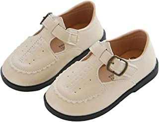 Hopscotch Boys PU Solid Buckled School Shoe in Beige Color